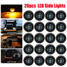 """20X Smoked 3/4"""" Round LED Clearance Side Marker Light for Truck Trailer RV Amber"""