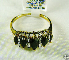 10k yellow gold 1 ctw Midnight Sapphire Marquise Cut Ring Band Sz 7 NWT
