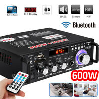 600W Digital Amplifier HIFI bluetooth Stereo Audio AMP USB SD FM Mic Car