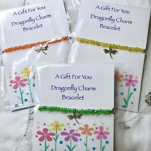 New Dragonfly Charm Bracelet ~ Beaded Stretch ~ Great Gift idea ~ Summer Chic