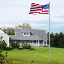 25' Aluminum Residential Sectional Flag Pole Set Kit with 3 By 5 Foot US Flag