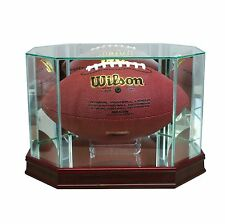 New Real Glass Octagon Football Display Case Cherry Sport Molding FREE SHIPPING