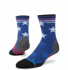 Men's Stance Fusion Run Socks Replay Tab 13-16 Blue Red White USA STARS STRIPES