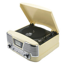 Cream GPO Memphis Record Player/Turntable/CD/Radio/MP3/USB Music System
