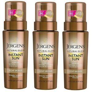 3 Pack- Jergens Natural Glow Sunless Tanning Mousse, Light Bronze *NO CAP*