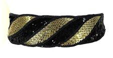 "VTG HAND-BEADED RICH SEQUINS BLACK GOLD EMBROIDERY 3"" WIDE DRESS ELASTIC BELT OS"