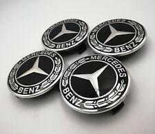 4PC Set Wheel Center Caps Emblem All Black Laurel Wreath 75mm For Mercedes Benz