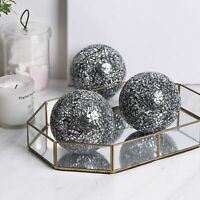 "Housewares Glass Decorative Balls 3pcs Glass Mosaic Sphere 4"" (Black Silver)"