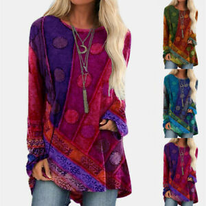 Women Crew Neck Long Sleeve Casual Vintage Print T Shirt Loose Tunic Blouse Tops