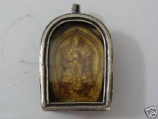 ANTIQUE  MONGOLIAN BUDDHIST COPPER  GAU PENDANT WITH  CLAY TSA TSA