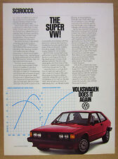 1981 VW Volkswagen Scirocco S Model red car photo vintage print Ad