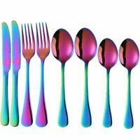 Rainbow Iridescent Stainless Steel Cutlery Set Spoons Forks Tableware (2 SE E5X3