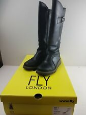 Fly London Mol 2 Black Leather Zip Up Knee High Wedge Heel Boots Size UK 4 EU 37