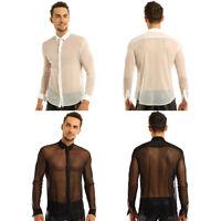 Chemise à Manches Longues Homme Maille T-Shirt Top Transparent Maillots de Corps