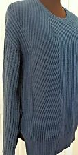 Ribbed Sweater GAP crew neck XS long sleeve navy Blue Solid lamb wool blend NWT