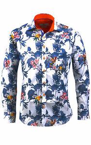 Mens Claudio Lugli Couture Floral/Parrot Print Shirt CP6521 White