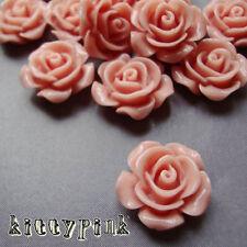 15 Light Pink Rose Flower Resin 14mm Cameo Cabochons Vintage Embellishments