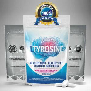 L-Tyrosine 2000mg Tablets, Enhances Brain, Mood Antidepressant, Stress & Anxiety