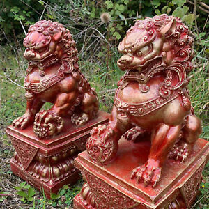 Red Chinese Fu Temple Lions - Foo Dogs Statue
