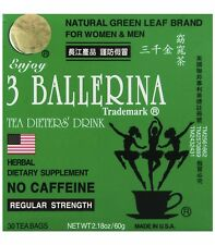 AUTHENTIC 3 BALLERINA TEA REGULAR STRENGTH DIETERS SLIM TEA 1 Box w/ 30 SACHETS