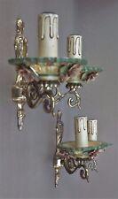 Ancienne paire d'appliques en BRONZE & CÉRAMIQUE décor ROSES luminaire