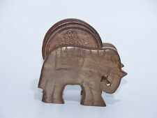 FREE SHIPPING AamiraA Handcrafted Wooden Coasters Elephant Cart Holder (6 Pack)