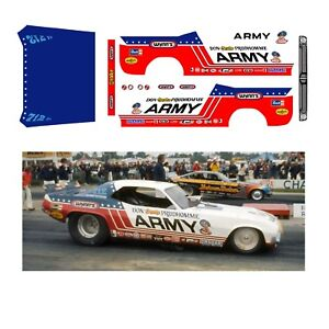 Don Prudhomme ARMY Cuda 1/64 scale decal fits Autoworld 1970 Cuda release 17