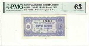Sarawak 5 Katis Rubber Currency Banknote 1942 PMG 63 CHOICE UNC