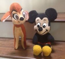 🔴 2 Walt Disney Characters California Stuffed Toys Plush 1960-1970 Mickey Bambi