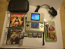 Nintendo DS Lite DSL Console in argento +7 Gioco Bundle SONIC RUSH G-FORCE Madagascar