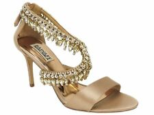 Badgley Mischka Women's Grammy Evening Sandals Latte Satin Size 7.5 M