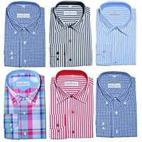 Mens Formal Check Stripe Button Down Regular Fit Shirt 100% Cotton S-4XL 15'-19'