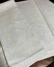 2 Vintage Pure Linen Guest Towels Medallion Monogammable Swirls & Floral Border