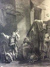 Baudouin Rose et Colas gravure XVIIIe Retirage héliogravure de 1920.