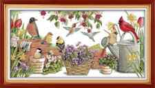 Birds gather in Garden Counted Cross Stitch Kit 14 ct aida 54x30cm (F) Free P&P