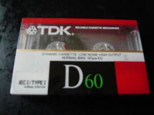 TDK D 60 MINS CASSETTE TAPE NORMAL BIAS...NEW SEALED VINTAGE OLD STOCK