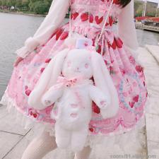 Lolita Women Japanese Kawaii Lop-ear Rabbit Plush Backpack Handbag Shoulder Bag