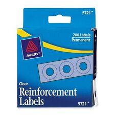 "Avery Reinforcement Labels - 0.25"" Diameter - Polyvinyl - 200 / Pack - Clear"