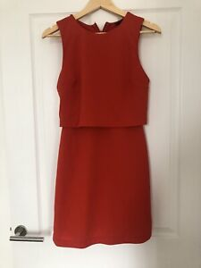 TOPSHOP Red Sleeveless Layered Short Bodycon Dress Size 10
