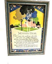 VINTAGE Motto POEM Mother Dear 1920s Art Deco Print Framed NRA Code Sticker