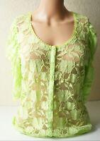 Vintage Rendez Vous Paris Women`s Green Lace Stretch Top Shirt Used Chest-35inch