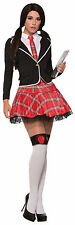 Womens Sexy Prep School Girl Costume Red Plaid Skirt & Jacket Size XS/SM