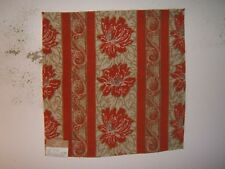 "Highland Court ""Peony"" floral stripe fabric remnant, color orange and gold"