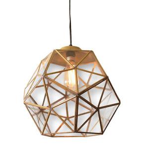 Modern Geometric Faceted Glass Pendant 1 Light Metal Single Bulb Gold Brass