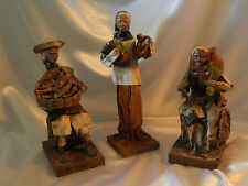 Vintage Set of 3 Paper Mache Figurines Dolls Mexico Handcrafted Excel Cond