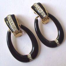 boucles d'oreilles clip bijou vintage couleur or émail noir cristaux diamant 511