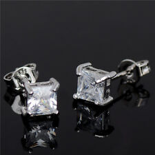 4 Claws Cubic Zirconia Stud Earrings Princess Cut Square Earrings Silver Plated