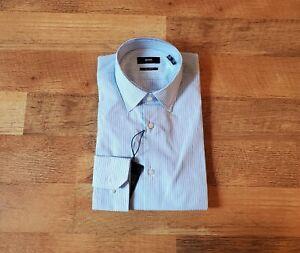 HUGO BOSS regular fit size 15 - 32/33 blue stripe dress shirt BRAND NEW