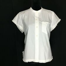 J Crew LARGE Top Crisp White Short Sl Ruffle Tunic Shirt Pocket Mandarin Collar