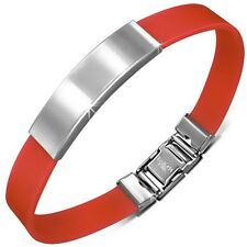 Personalized Stainless Steel ID Bracelet with Red Rubber- Free Engraving